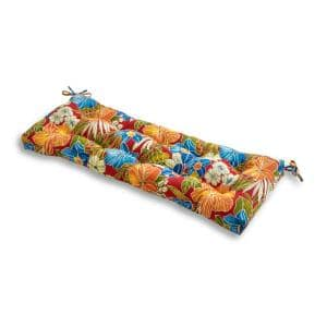 Aloha Floral Red Rectangle Outdoor Bench Cushion