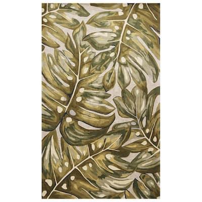 Bernadette Green 3 ft. x 5 ft. Rectangle Floral Wool Indoor/Outdoor Area Rug