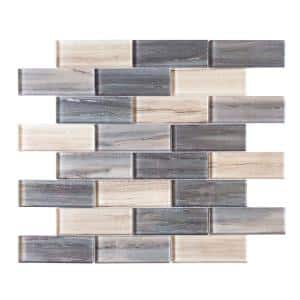 New Moon Blue 11.875 in. x 11.625 in. Interlocking Glossy Glass Mosaic Tile (0.958 sq. ft./Each)