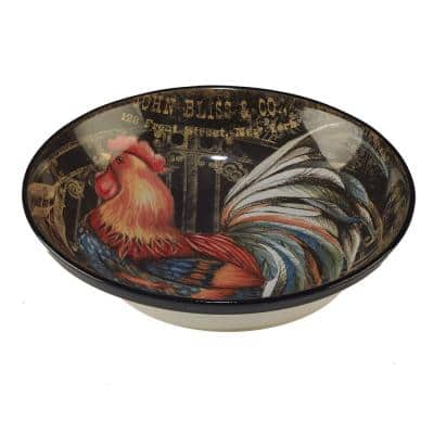 Gilded Rooster Multi-Colored 13 in. x 3 in. Serving/Pasta Bowl