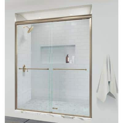 Infinity 47 in. x 70 in. Semi-Frameless Sliding Shower Door in Brushed Gold with AquaglideXP Clear Glass