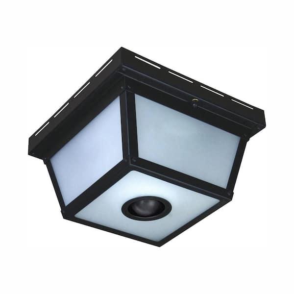 Hampton Bay 360 Square 4 Light Black, Outdoor Porch Ceiling Lights With Motion Sensor