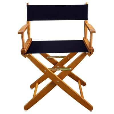 18 in. Extra-Wide Mission Oak Wood Frame/Navy Canvas Seat Folding Directors Chair