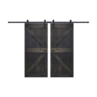 K Series 72 in. x 84 in. Ebony DIY Finished Knotty Pine Wood Double Sliding Barn Door with Hardware Kit