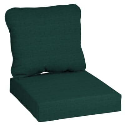 24 in. x 22 in. CushionGuard 2-Piece Deep Seating Outdoor Lounge Chair Cushion in Malachite