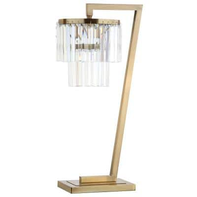 Callum 30 in. Brass Gold/Clear Table Lamp with Crystal Shade