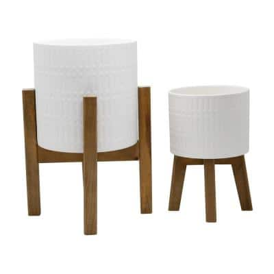 10 in. and 8 in. Matte White Ceramic Roman Planter on Wood Stand Mid-Century Planter (Set of 2)