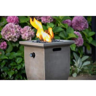 11 in. W x 14.9 in. H Outdoor Square Steel Frame LP Gas Slate Fire Pit with Match Light Ignition and Fire Glass