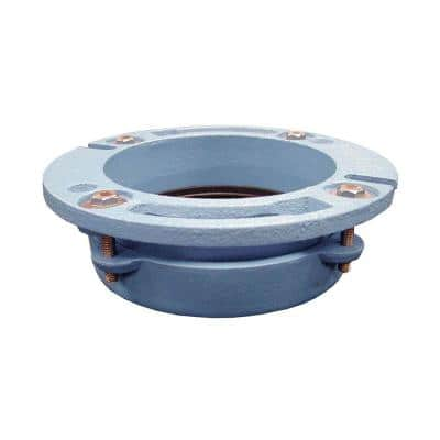 4 in. x 3 in. No Caulk Code Blue Cast Iron Water Closet (Toilet) Flange for Cast Iron or Plastic Pipe