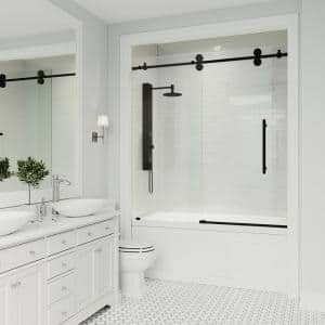 Elan 56 to 60 in. x 66 in. Frameless Sliding Tub Door in Clear/Matte Black with Clear Glass and Handle