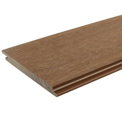 All Weather System 0.5 in. x 5.5 in. x 1 ft. Peruvian Teak Composite Siding Sample Board
