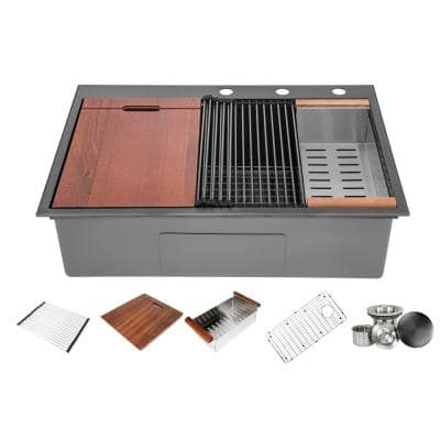Ariel 16-Gauge Nano Black Stainless Steel 33 in. Single Bowl Drop-In Workstation Kitchen Sink with Accessories