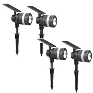 Solar 3.7-Volt Black LED Spotlight with Flashlight (4-Pack)