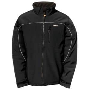 Soft Shell Men's Small Black Polyester/Spandex Water Resistant Jacket