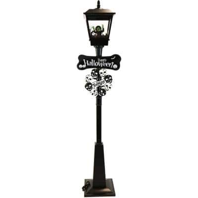 71 in. Black Wicked Witch Lamp Post with Animation and Spooky Music