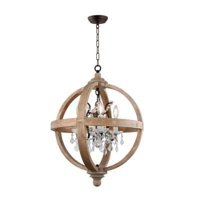 4-Light Candle Style Globe Natural Wood Chandelier with Clear Glass Crystals