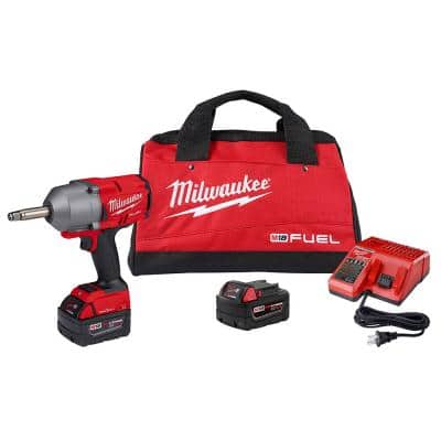 M18 ONE-KEY FUEL 18-Volt Lithium-Ion Brushless Cordless 1/2 in. Impact Wrench with Extended Anvil Kit with 2 Batteries