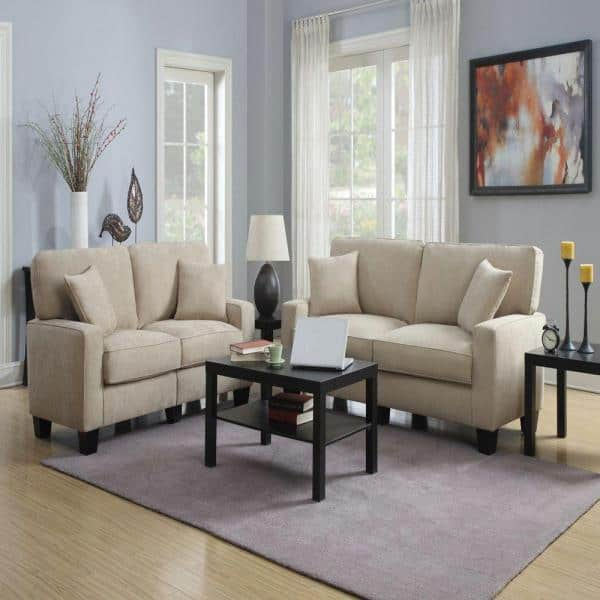 Serta RTA Martinque 78 in. Espresso/Beige Polyester 2-Seater Sofa with Removable Cushions   The Home Depot