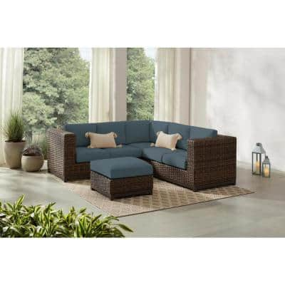 Fernlake 4-Piece Taupe Wicker Outdoor Patio Sectional Sofa with Sunbrella Denim Blue Cushions