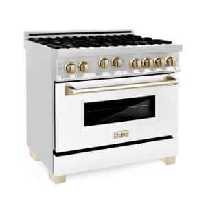 ZLINE Autograph Edition 36 in. 4.6 cu. ft. Gas Range in Stainless Steel with White Matte Door and Gold Accents