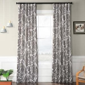 Tea Time Ochre Floral Blackout Curtain - 50 in. W x 84 in. L