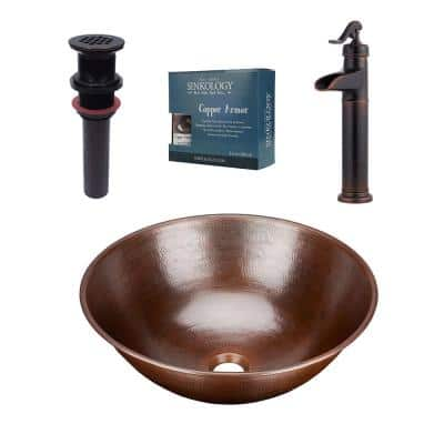 Hubble All-In-One 14 in. Copper Bathroom Vessel Sink with Pfister Ashfield Bronze Faucet and Drain