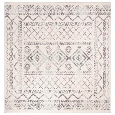 Tulum Ivory/Gray 3 ft. x 3 ft. Square Tribal Distressed Border Area Rug