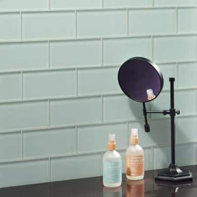 Contempo Seafoam 3 in x 6 in. 8mm Frosted Glass Subway Floor and Wall Tile (32 pieces 4 sq.ft/Box)