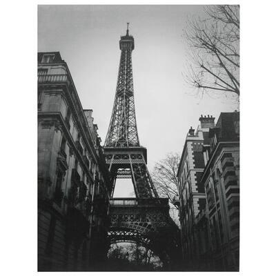 """32 in. x 24 in. """"Eiffel Tower Sun Glow"""" Canvas Wall Art"""