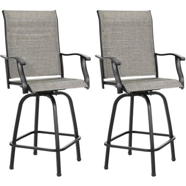 2 Pieces Swivel Metal Frame Outdoor Bar, Patio Furniture Bar Height Chairs