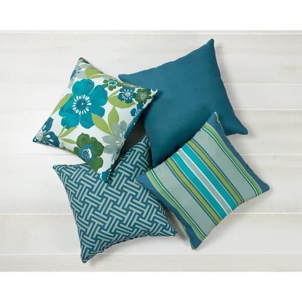Hampton Bay - Cumberland Geo Square Outdoor Throw Pillow (2-Pack)