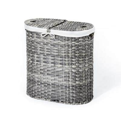 Light Gray Handwoven Oval Double Laundry Hamper with Liner