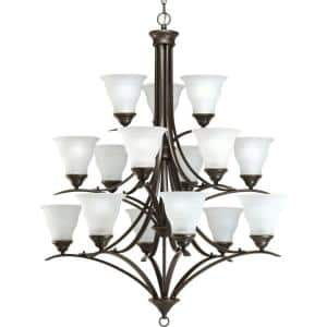 Trinity Collection 15-Light Antique Bronze Etched Glass Traditional Chandelier Light