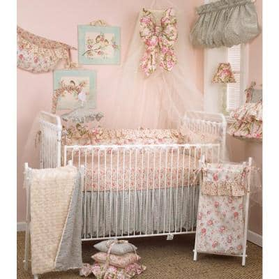 Tea Party 4-Piece Floral Cotton Blend Crib Bedding Set