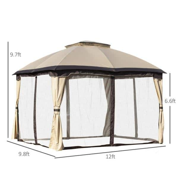 Outsunny 10 Ft X 12 Beige Outdoor, Outdoor Patio Gazebo Canopy