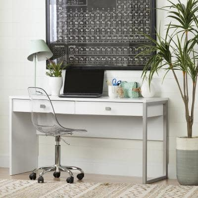 47.5 in. Pure White/Gray Rectangular 2 -Drawer Writing Desk with Storage