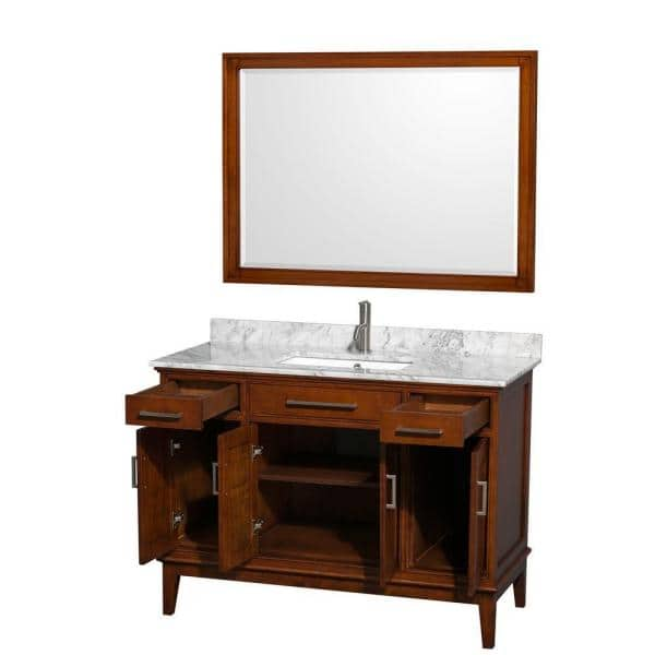 Wyndham Collection Hatton 48 In Vanity In Light Chestnut With Marble Vanity Top In Carrara White Square Sink And 44 In Mirror Wcv161648sclcmunsm44 The Home Depot