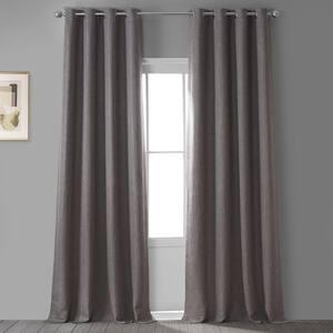 Mink Faux Linen Grommet Blackout Curtain - 50 in. W x 84 in. L