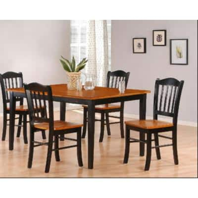 5-Piece Black and Oak Dining Set