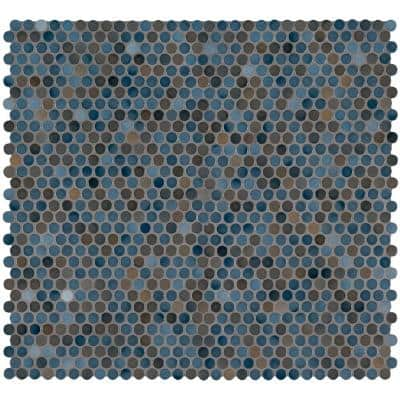 Penny Round Azul 11.3 in. x 12.2 in. x 6mm Glossy Porcelain Mesh-Mounted Mosaic Tile (14.4 sq. ft. / case)