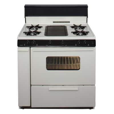 36 in. 3.91 cu. ft. Battery Spark Ignition Gas Range in Biscuit with Black Trim