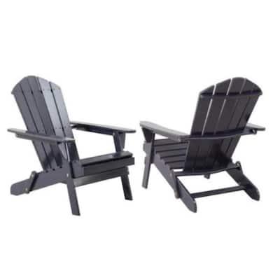 Graphite Folding Wood Patio Adirondack Chair (2-Pack)