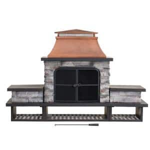 Maryland Bel Aire 48.03 in. Copper Fireplace with Faux Stack Stone Finish