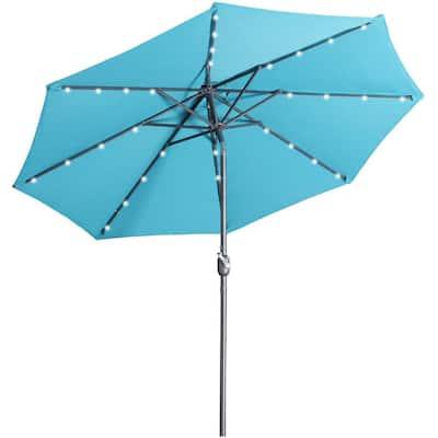 9 ft. Aluminum Market High Quality Solar LED Light Tilt Patio Beach Umbrella in Lake Blue Without Base