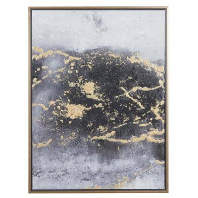 30 in. x 40 in. Rectangular Dark Grey and Gold Foil Abstract Canvas Wall Art With Gold Wood Frame