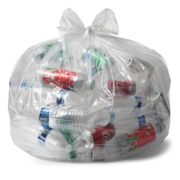 Huge 100.. Clear Recycling Bags by Ultrasac Heavy Duty 45 Gallon Garbage Bags