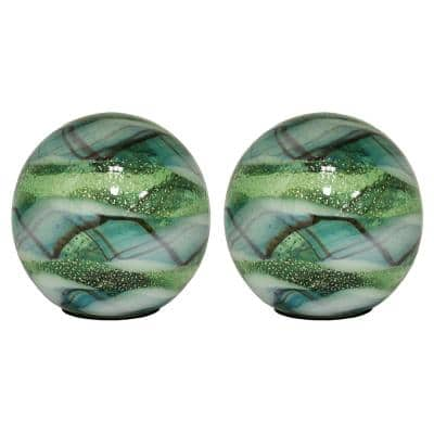 5 in. Art Glass Solar Gazing Ball, Vittorio (2-Pack)
