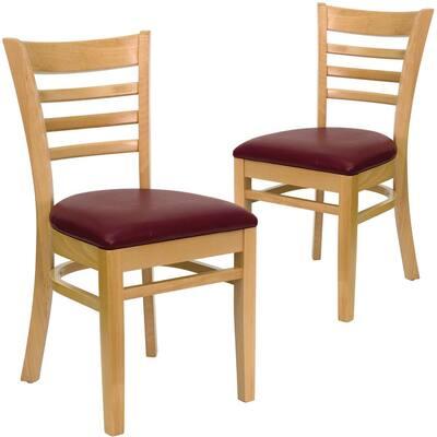 Burgundy Vinyl Seat/Natural Wood Frame Restaurant Chairs (Set of 2)