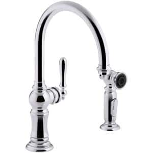 Artifacts Single-Handle Kitchen Faucet with Swing Spout and Side Sprayer in Polished Chrome