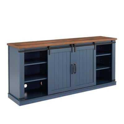 70 in. Navy with Walnut Color Desktop TV Stand for TVs up to 75 in.